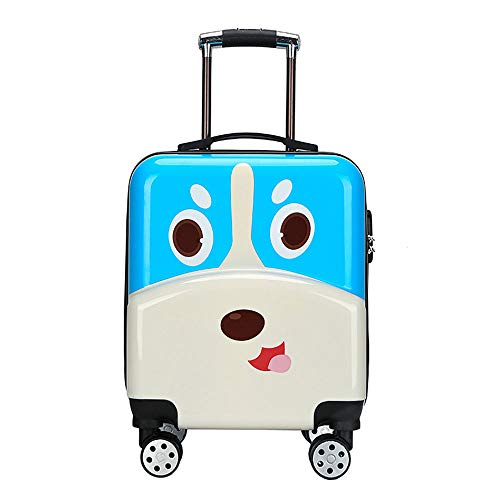 NLZQ Kids Luggage with Wheels,Personalized Upright Hardside Luggage Rolling Easy Carry Luggage Set Travel Trolley with Lock Best Gifts for Children-for Travel School,19In,Blue