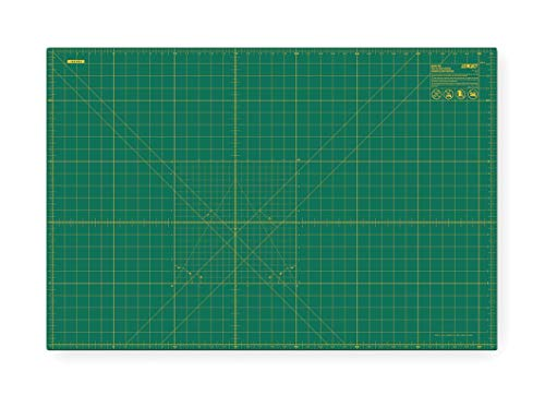 """Olfa 24"""" x 36"""" Double Sided, Self Healing Rotary Cutting Mat, One Side Green with Yellow Lines, Other Sid - RM-MG"""