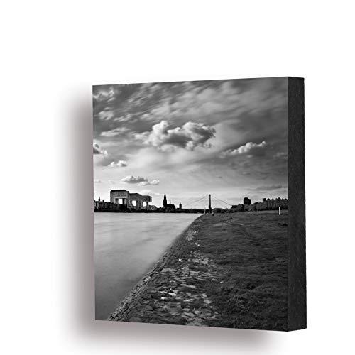 Köln Bild - Kranhäuser mit Rhein (schwarzweiss), 14x14cm, MDF, Geschenk, Deko, Kölngeschenk, Cologne