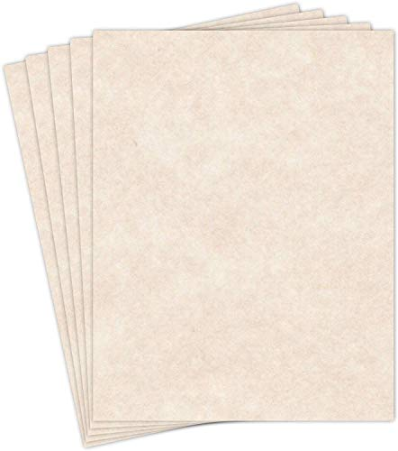 """Natural Cream Stationery Parchment Recycled Paper   65Lb Cover Cardstock   8.5"""" x 11"""" Inches   50 Sheets Per Pack"""