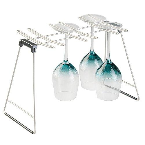 mDesign appendi calici da 4 o 6 calici – porta calici in metallo richiudibile e salvaspazio – porta bicchieri robusto con sistema anti-scivolo