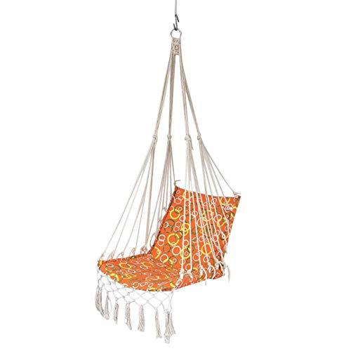 Hangstoel touw hangende schommelset, tot 120 kg belastbaar, voor in de tuin, hangtouw, hangmat, stoel, veranda schommel met kussens voor binnen en buiten, tuin