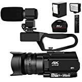 Video Camera 4K Camcorder Ultra HD 48MP 30X Digital Zoom Camera for YouTube IR Night Vision 4500mAh Battery with Handheld Stabilizer 2.4G Remote Control Microphone and 64G SD Card