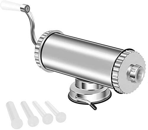 MASTER FENG Wurstfüller, Horizontale Küche Aluminium Wurstfüllmaschine mit Saugfuß Verpackt 4 Größe Professionelle Wurstfüllrohre für Hausgemachte (2LBS / 1 L (Horizontal))
