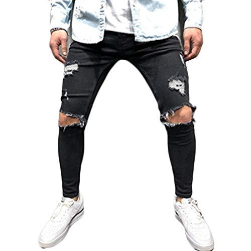 Inlefen Hombres Retro Jeans destruidos Cremallera Fuerza elástica Afligido Rasgado Mezclilla Pantalones