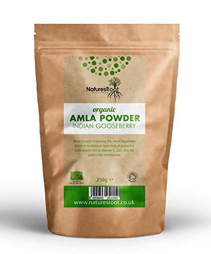 Natures Root Amla Pulver Bio 250g - Für Haarausfall - Haarwachstum - Minimiert Grautöne