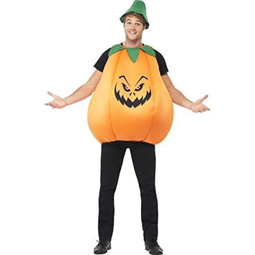 SMIFFYS Smiffy's Costume Zucca, Arancionee Verde, comprende Corpetto e Cappello Adulti, Arancio, Taglia Unica, 40067