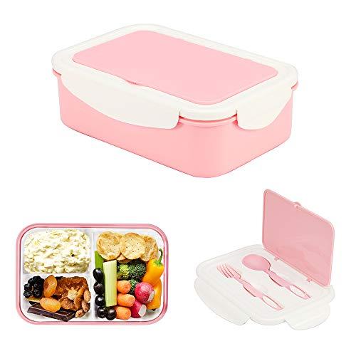 Brotdose aus Kunststoff, Bento Box Lunchbox Mit 3 Fächern und Besteck,1000ml Vesperdose, Mikrowelle Heizung Für Kinder Und Erwachsene (Rosa)
