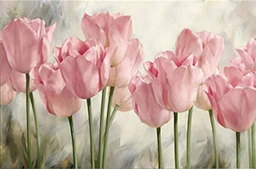 5D Full DIY Diamond Painting Kits Round Drill Crystal Rhinestone Embroidery Cross Stitch Arts Craft Canvas Supply for Home Wall Decor Flower Pink Tulips 12X16inch