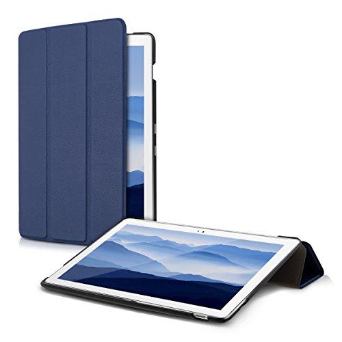 kwmobile Étui Compatible avec ASUS ZenPad 10 (Z300) - Étui à Rabat Magnétique Protection Slim avec Fonction Support - Bleu foncé
