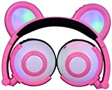 HX0945 Kinder-Kopfhörer LED-Ohr-Flashing Glühender Kopfhörer Fox Headsets Gaming-Kopfhörer Für Erwachsene Kinder Geschenke,Rosa