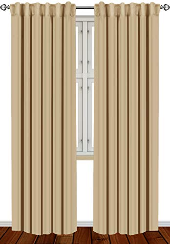 Utopia Bedding 2 Panels Blackout Curtains, W52 x L84 Inches, Biscotti Beige, Thermal Insulated Window Draperies - 7 Back Loops per Panel - 2 Tie Backs Included