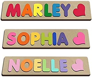 Hand Crafted Personalized Wooden Name Puzzles Child's Name, Custom Made Puzzle From Wood with a Heart