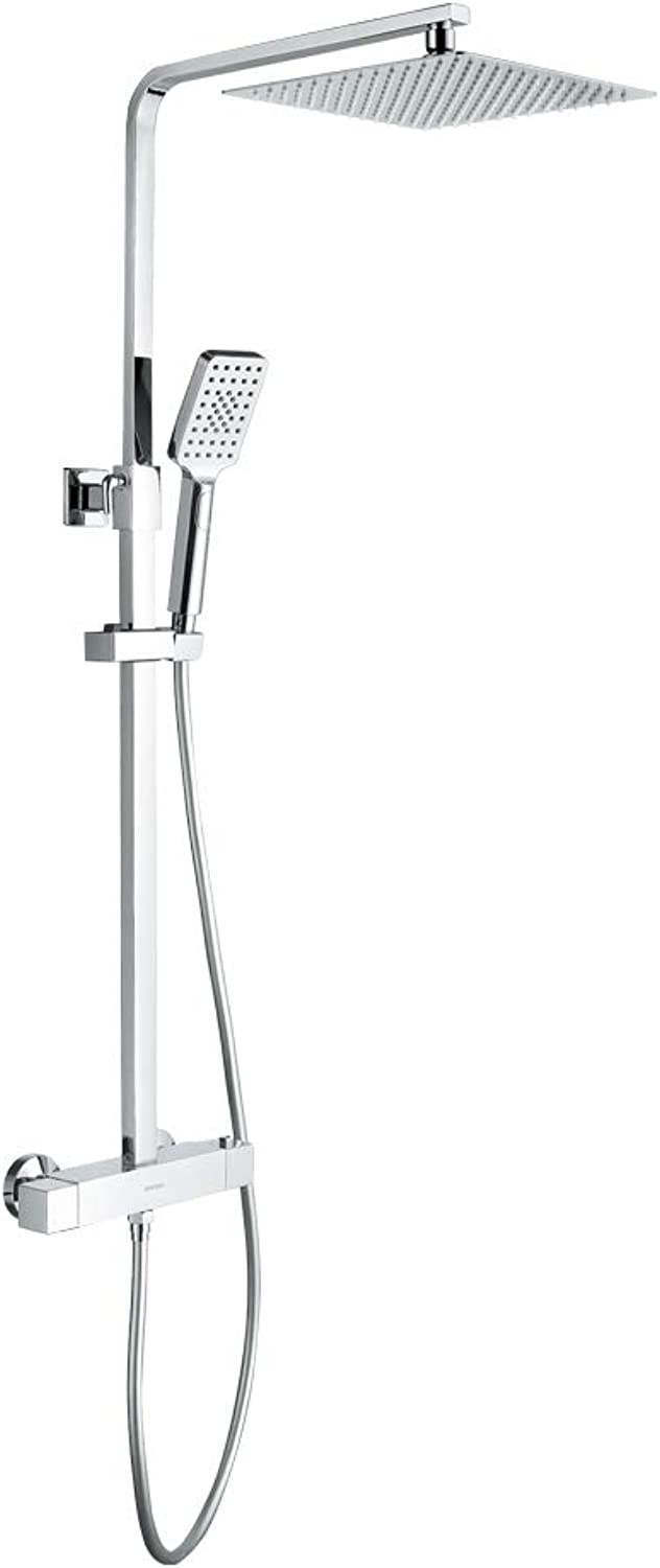 GRIFEMA COLUMNAS-G7001 All in one Shower System with Thermostatic Control, Square Wall Mounted Thermostat Shower Mixer Tap Set, 1 2 Inch Hose Pipe, Chrome
