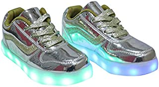 HAPPY FEET Metallic Lace-Up Sneakers with LED Lights (Gold,8 Years)