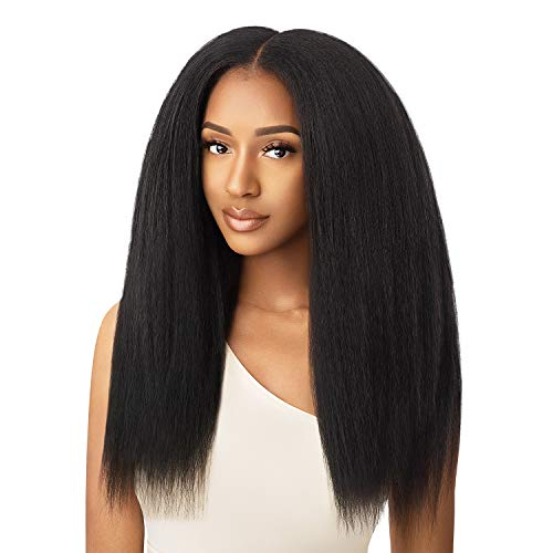 "Outre Human Hair Premium Blend Clip-In Big Beautiful Kinky Straight 18"" 9pcs (NBRN)"