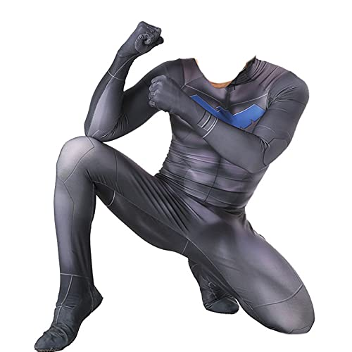 LEDLFIE Unisex Adultos Cosplay Costume, DC Nightwing Blue Cosplay Costume Spandex Body Halloween Cosplay Disfraz (Color : Adult Male, Size : XXL)