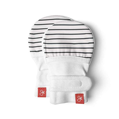 Goumi baby mitts, scratch-free newborn mittens, organic soft stay-on Unisex mittens, prevents scratching (0-3 Months, Hello Baby Brown - Stripe Gray)