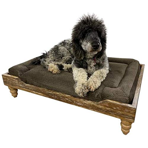 828 Pet Supplies | Large Orthopedic Memory Foam Dog/Pet Bed - Washed Oak Frame - Raised Dog Bed - Crete Seal - Carved Legs - Stain Resistant Cushion - Luxurious Pet Sofa