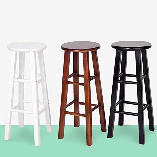WZYX Barstolar kök pub trä rund barstol, bänkhöga pallar massivt trä matstol med fotstöd, köksö med sittplats