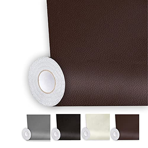 Shagoom Leather Repair Patch, 17X79 inch Repair Patch Self Adhesive Waterproof, DIY Large Leather Patches for Couches, Furniture, Kitchen Cabinets, Wall (Dark Brown, 17X79 inch)