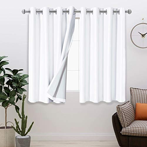 LORDTEX 100% Dupioni Silk Blackout Curtains for Bedroom - 52 x 63 Inches, Thermal Insulated, Noise Reducing Drapes Total Light Blocking Grommet Window Curtains for Living Room , 2 Panels, White