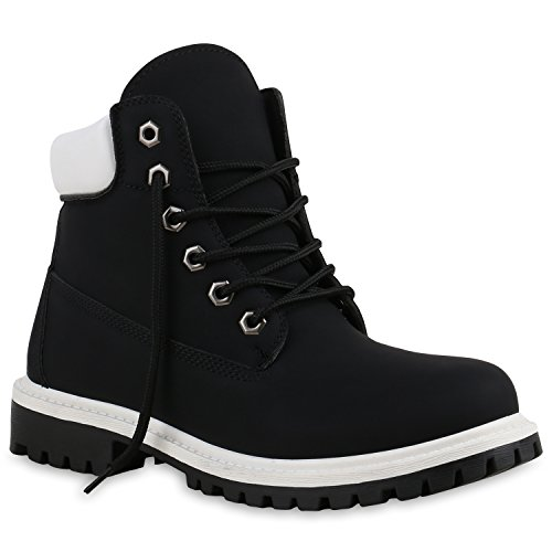 stiefelparadies Unisex Damen Herren Boots Bequeme Worker Boots Profilsohle Outdoor Schuhe 137313 Schwarz Weiss Brooklyn 38 Flandell