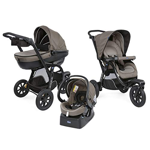 Chicco Trio Activ3 3 in 1 Modular Baby Travel System Pram with Car Kit, 3-Wheel Stroller Pushchair, Baby Carrycot and Baby Car Seat Group 0+, with Folding, Compact Closure - Beige