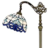 Tiffany Style Reading Floor Lamp Lighting W12H64 Inch White Blue Stained Glass Baroque Lampshade Antique Adjustable Arched Base S003B WERFACTORY LAMPS Living Room Bedroom Beside Table Desk Lover Gifts