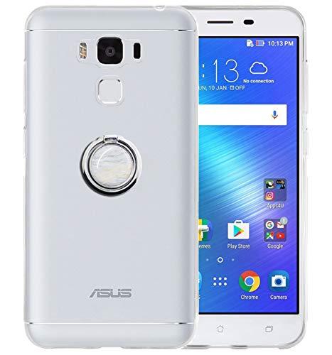 Sunrive Funda para ASUS Zenfone 3 MAX ZC553KL 5,5 Pulgadas, Silicona Slim Fit Gel Transparente Carcasa Case Bumper Anti-Arañazos Espalda Anillo Kickstand 360 Grados Giratorio Cover(Mármol Blanco)
