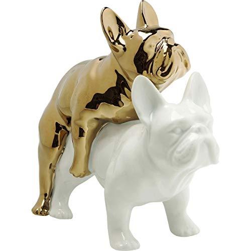 Kare 64626 Design Deko Figur Love Dogs, goldener und weißer Hund aus Porzellan, witziges Dekoobjekt, Dekofigur Hunde, Figur, Accessoires, (H/B/T) 17x11x20cm