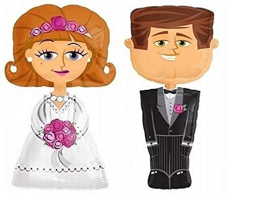 XXL folieballonnen/airwalker bruidspaar bruid & bruidegom/bruiloft ballonnen/luchtballonnen - hoogte 1,27 m - 2 stuks - bruiloft decoratie/bruiloft accessoires/decoratie huwelijk/heer & Mrs