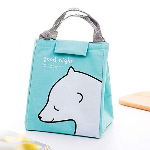 Draagbare lunch tas voor school cartoon schattige geïsoleerde thermische lunch tas tote meisjes handtas voedsel picknick lunch tassen voor vrouwen kinderen, ijsbeer, 20x24x16 cm