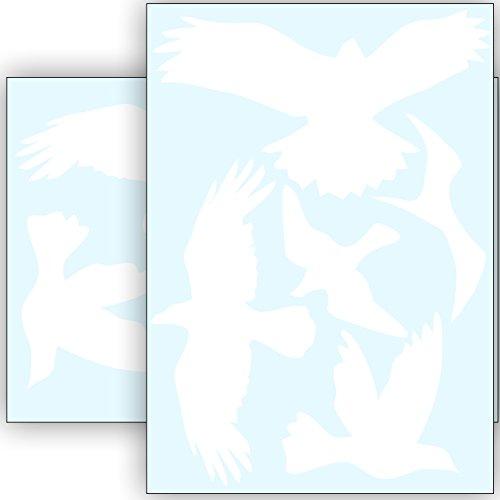 Vogelschutz und Fensterschutz - 10 Aufkleber - Schutz vor Vogelschlag - Sticker Vögel (Weiss)
