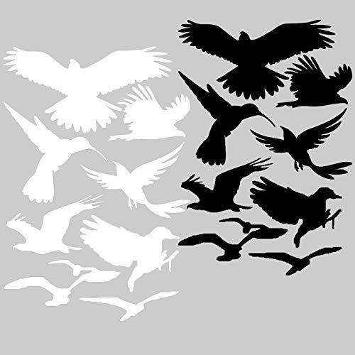 18 Vogelaufkleber + Autoaufkleber Vogel für Fenster, Wintergärten, Glashäuser zum Vogelschutz, Warnvogel, Fensterschutz Premium Oracal Folie, Schwarz und Weiß