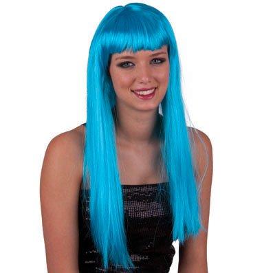 Karabu Cheveux tout droit longue perruque assez turquoise