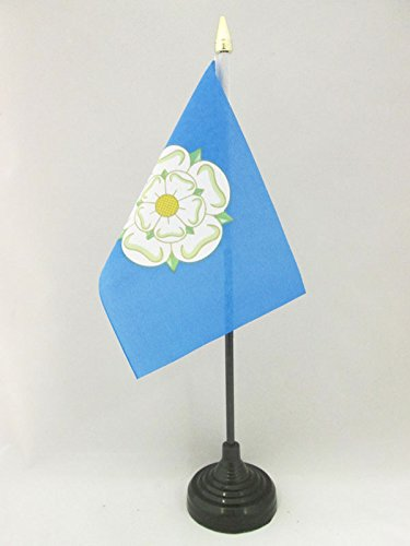 AZ FLAG TISCHFLAGGE GRAFSCHAFT Yorkshire 15x10cm goldene splitze - Yorkshire TISCHFAHNE 10 x 15 cm - flaggen