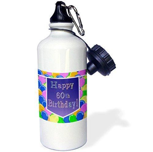 Cukudy Waterfles Cadeau voor Kids Meisje Jongen, Ballonnen Met Paarse Banner Gelukkig 60e Verjaardag Roestvrij Staal Water Fles voor School Office Reizen 21oz