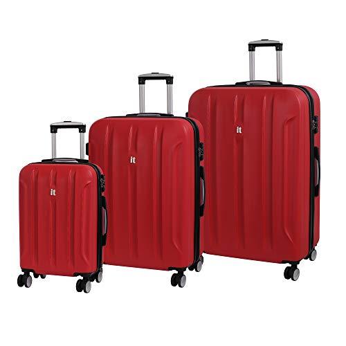 it luggage Proteus 8 Wheel Hardside Single Expander Suitcases with TSA Lock, Racing Red, 3-Piece Set