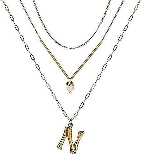 Collar con Colgante de Letra del Alfabeto de Metal Collar con Cadena de eslabones con dijes Choques de Barra de Metal en Capas para niñas