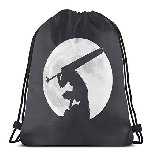 Lmtt Sacche da palestra Berserk Moon Sport Bag Zaino da palestra con coulisse Zaino Casual Borsa Sportiva Impermeabile Zaino da Viaggio Borsa Coulisse 36*42cm