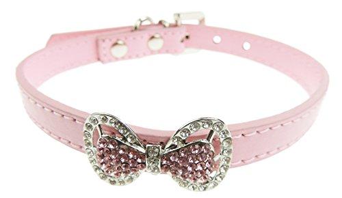 Glamour Girlz Collar de princesa con diamantes brillantes y borde de cuero con aspecto de gato, perro y gato, color rosa pálido