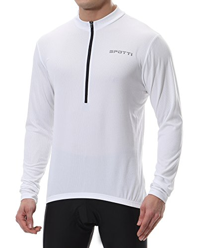 Spotti Men's Long Sleeve Cycling Jersey, Bike Biking Shirt- Breathable and Quick Dry (Chest 42-44 - XL,White)