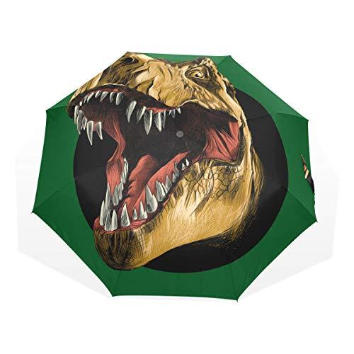 Rootti Paraguas ligero con estampado de cocodrilo, con un botón, apertura automática, para exteriores, resistente al viento, para niños, mujeres y hombres