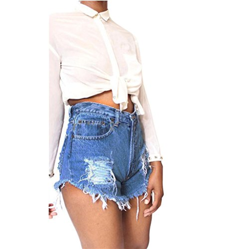 TWIFER Frauen Quaste Loch Damen Shorts Jeans Denim Hohe Taille Kurze Hose