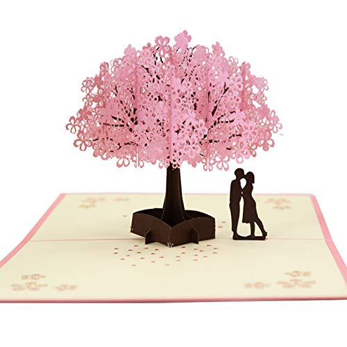 Smaani 3D Cherry Blossom Pops-Up Card, Handmade Romantic Greeting Cards, for Wife Girlfriend Husband Her Him Romantic Love Letter Greeting Anniversary Wedding Valentine Birthday Gift Card (A)