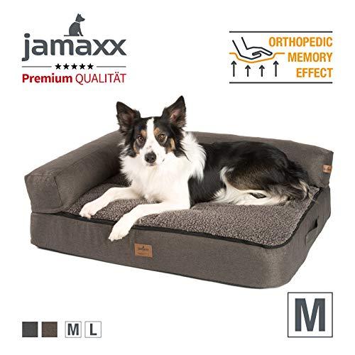 JAMAXX Premium 4-in-1 Hunde-Sofa - Orthopädische Couch mit Memory Visco Schaumstoff, abnehmbare Polster, Extra-Dicke Polsterung, Wechsel-Bezug, Waschbar, PDB3015 (M) 90x70 braun