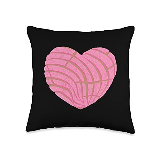 Mexican Concha Gifts Mexican Sweet Bread Love Conchas Heart Throw Pillow, 16x16, Multicolor