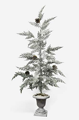 X-nego 36' Frosted pre-lit White Christmas Tree Snowy Cones Battery Operated Warm White LED Lights for Windowsills, Mantle Display