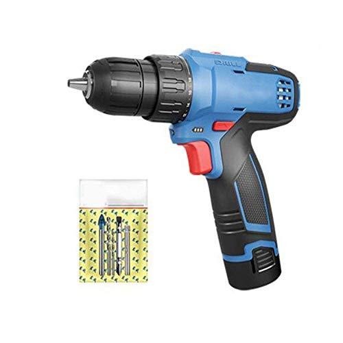 Akku-Bohrschrauber, Doppel-Elektro-Dual Speed Lithium Bohrmaschine, Bosch 12V Akkuschrauber wiederaufladbare Handbohrmaschine, Multifunktionshaushalt Power Tools (Farbe: Schwarz, Blau) LOLDF1